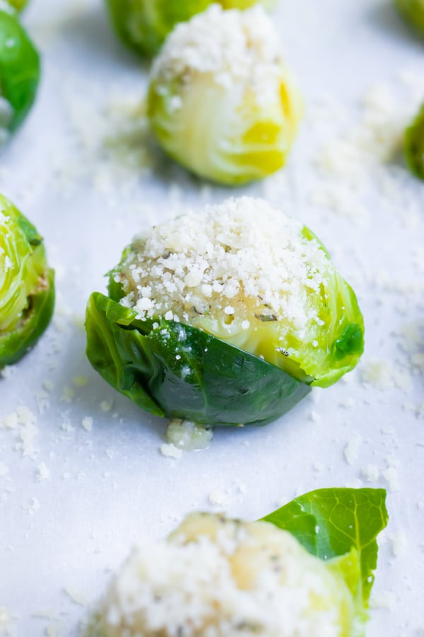 A close-up image of smashed Brussels sprouts that are topped with grated Parmesan cheese before baking in the oven.