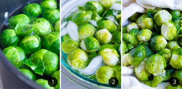 Brussels sprouts boiling in a pot of water, being immersed in an ice bath, and then being dried in a dish towel.