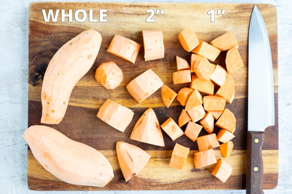 Whole and peeled sweet potatoes and cubed sweet potatoes to show how long to boil sweet potatoes.