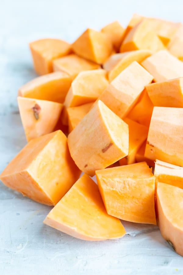 Cubed and peeled sweet potatoes.