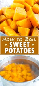 A pot of water full of orange potatoes showing how to boil sweet potatoes.