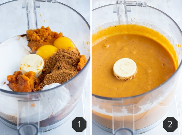 A food processor full of pumpkin pie ingredients showing how to make a homemade pumpkin pie.
