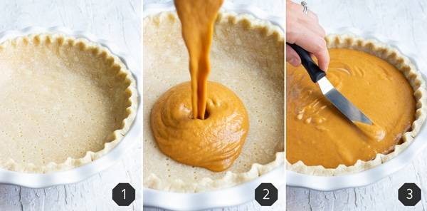 Creamy pumpkin filling being poured into a homemade pie crust and spread around.