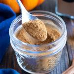 A silver spoon full of an easy pumpkin spice recipe.