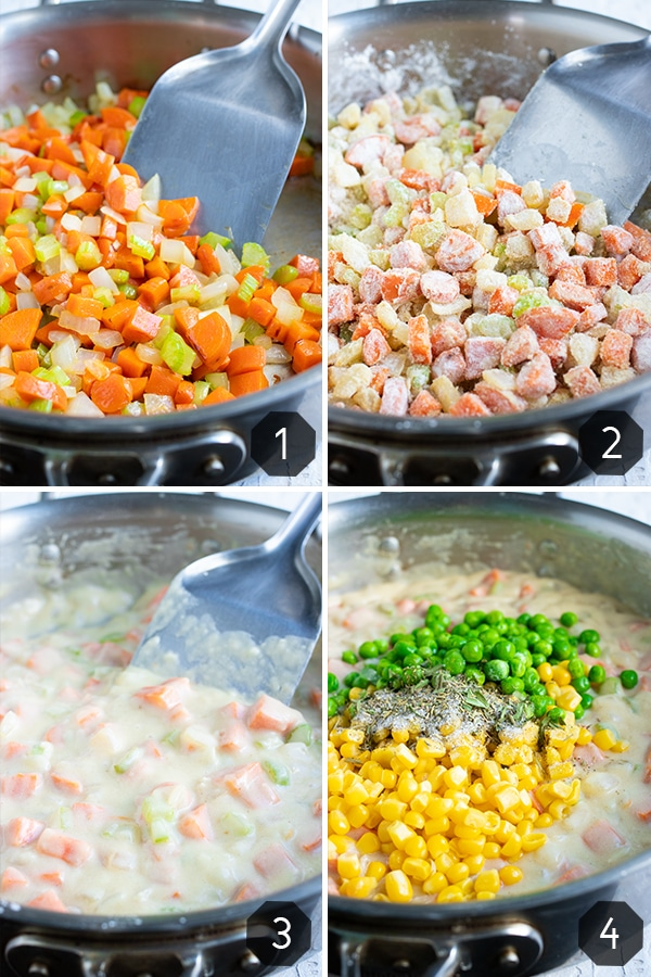 A large skillet full of ingredients that shows how to make a healthy chicken pot pie filling.