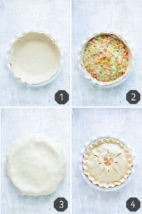 Four images showing how to make a homemade chicken pot pie recipe.