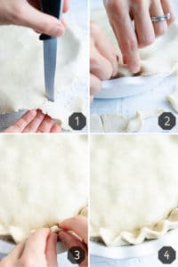 Four images showing how to seal a chicken pot pie and then crimp the pie crust edges.