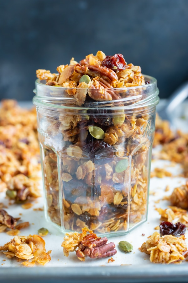 Gluten-free granola recipe with Paleo sugars and other vegan ingredients.