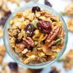 A close-up image of granola that has been made from scratch with gluten-free oats, vegan syrup, and Paleo sugar.