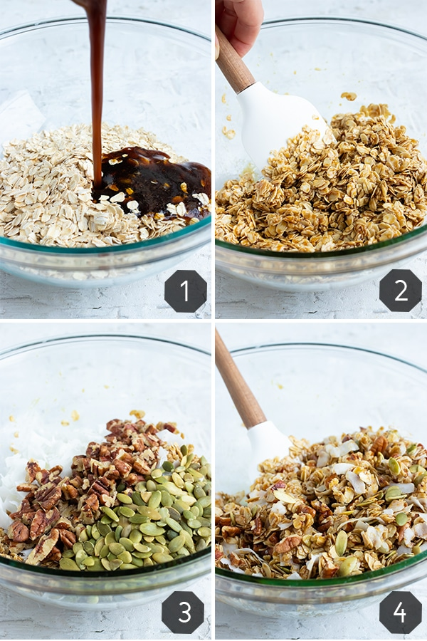 A step-by-step photo collage that shows how to make homemade granola that is healthy and easy.