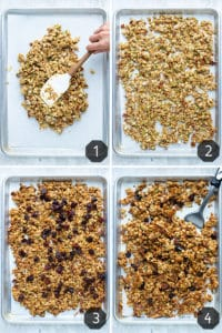 Four images showing how to make granola on a large baking shet.