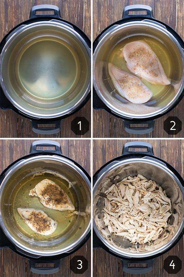 Four images showing how to make shredded chicken in the Instant Pot.