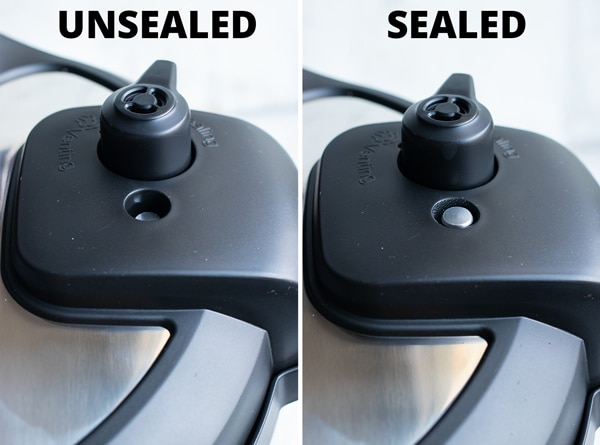 Two images showing the float valve when it is depressed and when it is flush with the lid and sealed.