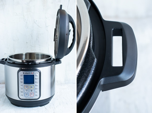 A tip to place the lid in the handle of an Instant Pot.