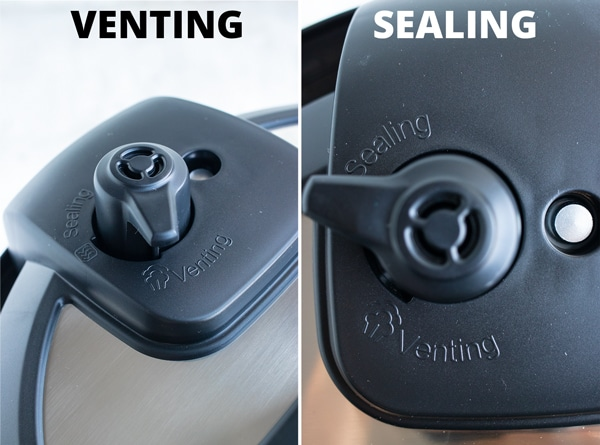The pressure release handle in the sealing and the venting positions.