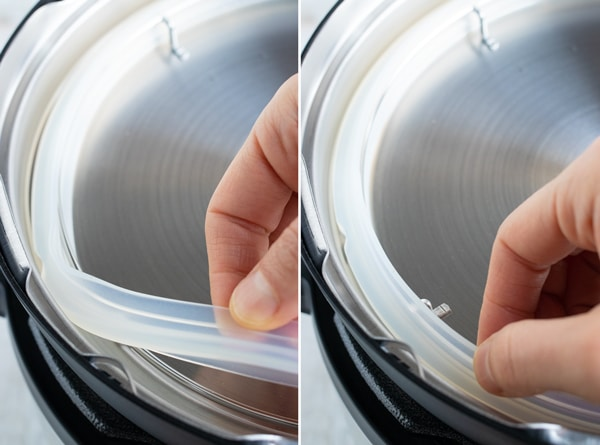 Two images showing how to remove and place the silicone ring around the lid of an Instant Pot.