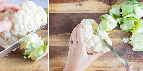 Cutting and discarding the stem of a head of cauliflower.