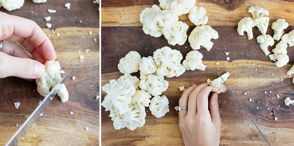 Cutting the end of the cauliflower floret before it is roasted, boiled, or sauteed.