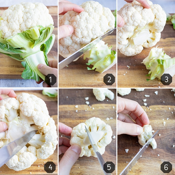 Step-by-step instructional photos showing how to cut a cauliflower head into florets for healthy recipes.