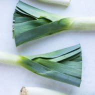 Fresh leeks for cutting and cleaning.
