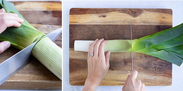 The green leaves of a leek being cut off and discarded.