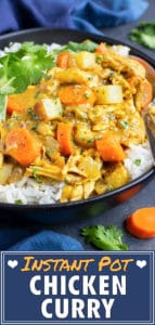 Quick, easy, and gluten-free chicken curry recipe that was made in an electric pressure cooker.