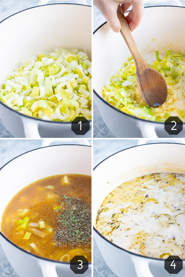 Four images showing how to make potato leek soup vegan and vegetarian in a Dutch oven.