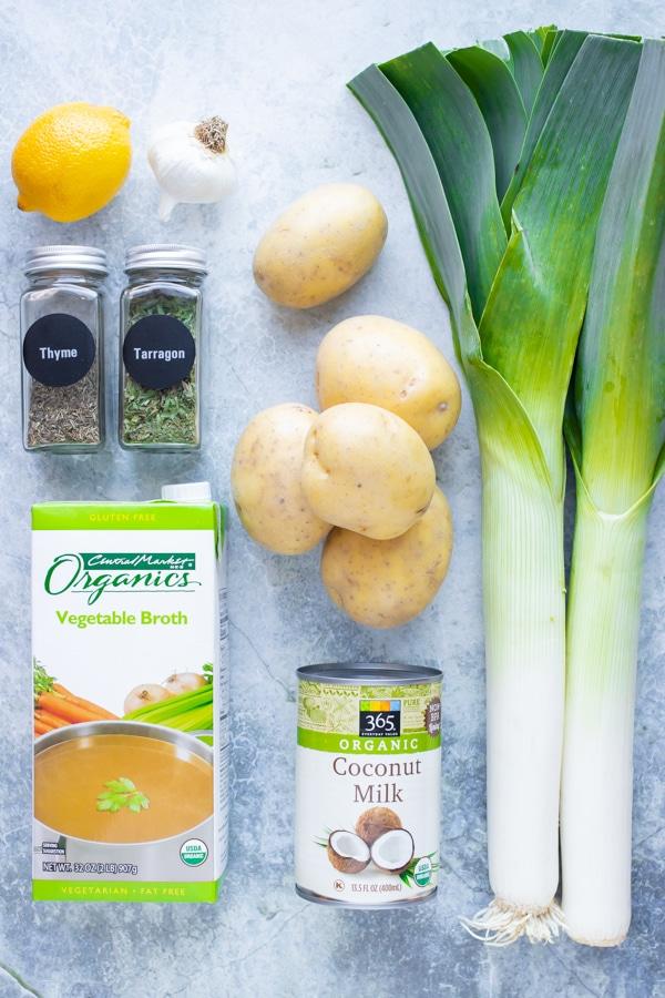 Yukon gold potatoes, fresh leeks, dried herbs, broth, and coconut milk (no cream) as the ingredients for a vegan potato leek soup recipe.