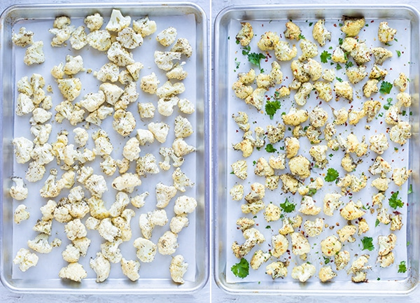 Instructional photos showing how to roast cauliflower in the oven.