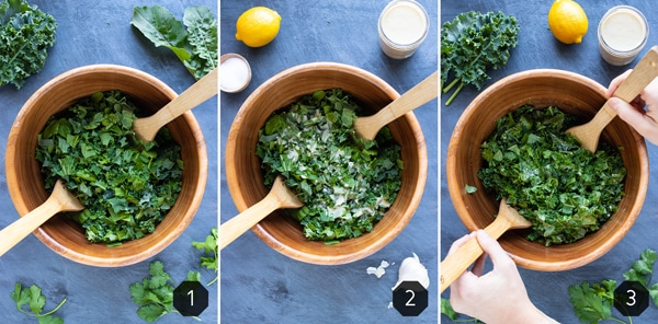 Three images showing how to toss a chopped kale salad with a homemade salad dressing.