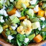 Roasted Cauliflower Kale Salad Recipe | Roasted Vegetable Salad | Health, Winter, Lunch