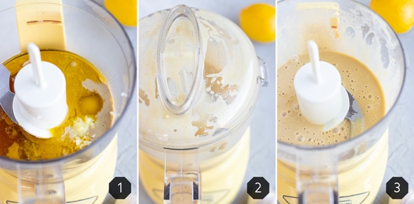 Add the ingredients to a blender or food processor is how to make lemon tahini dressing.