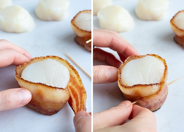 Two images showing how to wrap bacon around scallops and secure with a tooth pick.