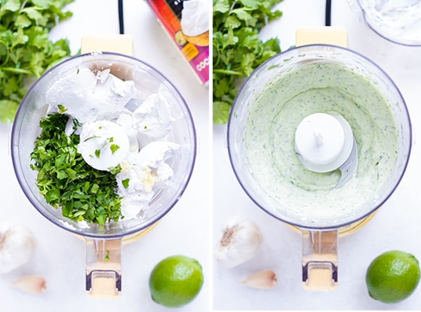 Two images showing the before and after of blending up a vegan cilantro lime cream sauce made from coconut cream.