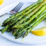 A quick, healthy, and easy side dish recipe for lemon garlic roasted asparagus.