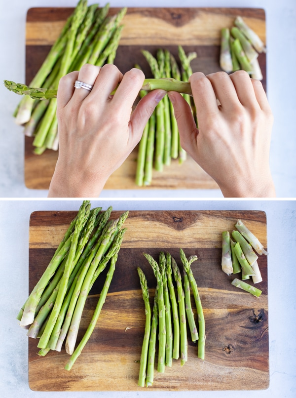 Two images showing how to trim asparagus spears by snapping at the junction of the white and green parts.