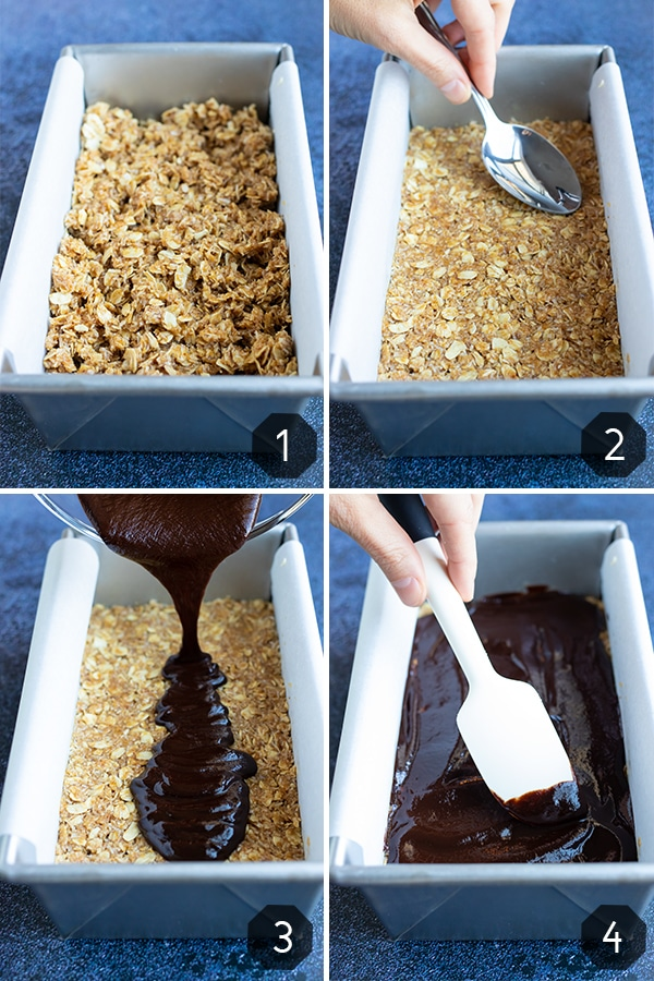 Step-by-step instructions that show how to make no-bake oatmeal bars that taste like a Samoa cookie.