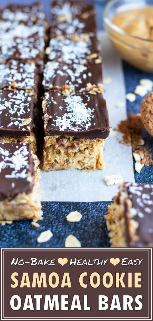 No-Bake Oatmeal Bars | Samoa Cookie Bars Recipe | Gluten-Free, Vegan, Healthy