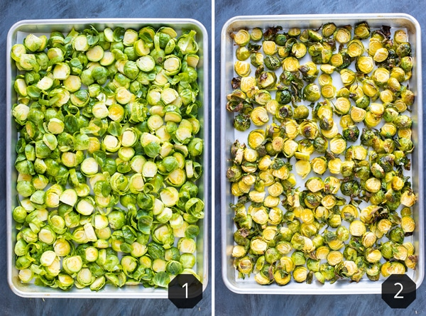 Two baking sheets showing how to roast shredded Brussels sprouts in the oven.