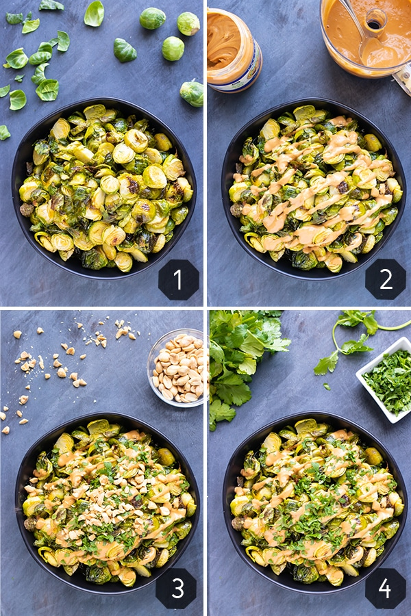 Four images showing how to make roasted Brussels sprouts with a peanut butter sauce.