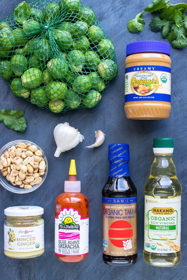 A pound of Brussels sprouts and the ingredients for a peanut butter Asian sauce.