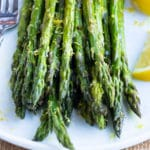 Lemon Garlic Roasted Asparagus Recipe | Healthy, Low-Carb, Vegan Asparagus Side Dish Recipe