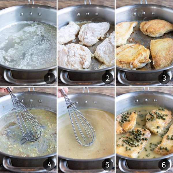 Step-by-step photos showing how to make lemon chicken piccata with capers.