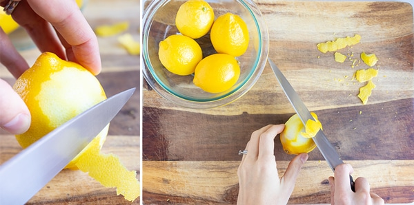 Using a sharp knife to remove the peel and leave the pith on a lemon.
