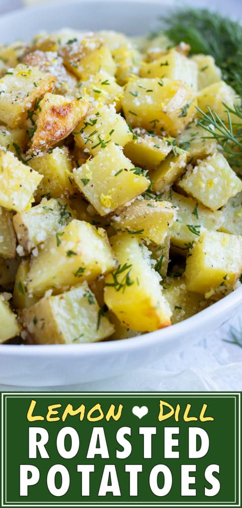 Lemon Dill Roasted Potatoes with Parmesan | Quick & Easy Side Dish