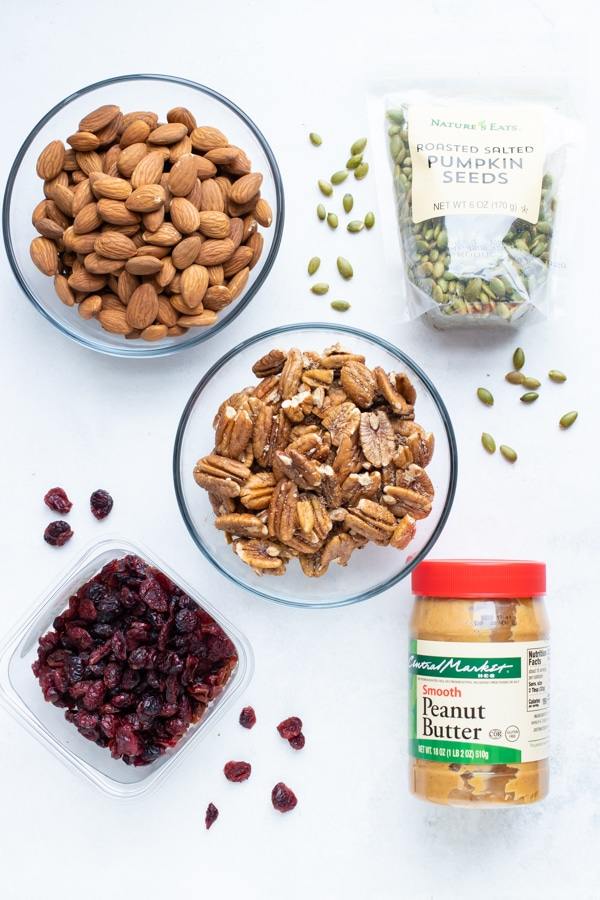 Almonds, pecans, dried fruit, nut butter, pumpkin seeds that are good pantry staples.
