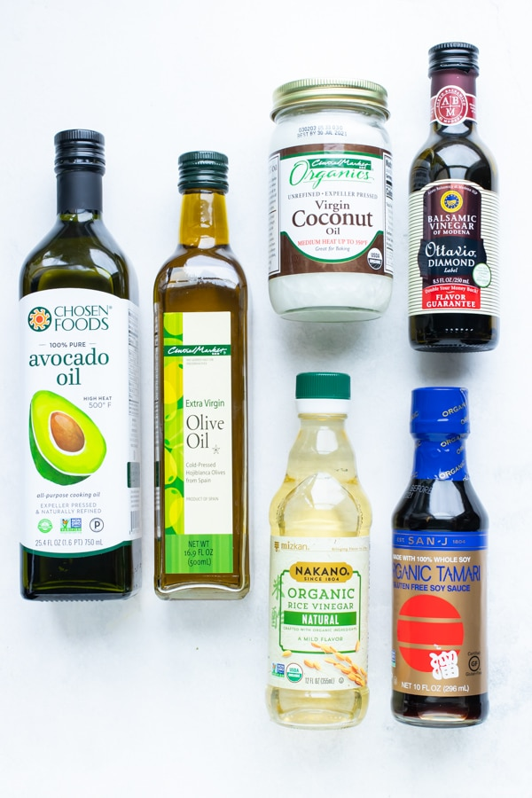 Oils, vinegars, soy sauce that are dry goods to stock up on in an emergency.