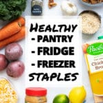 A pantry, refrigerator, and freezer stock-up list in case of an emergency.