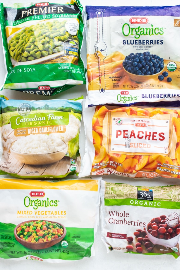 Frozen fruits and veggies to store in freezer when stocking up.