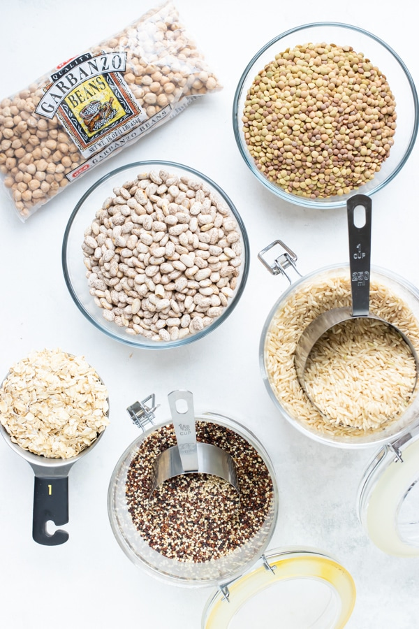 Dried grains and beans to keep as pantry staples in an emergency.
